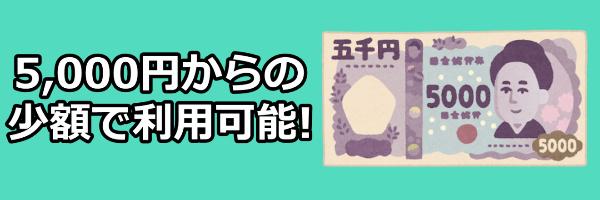 5,000円からの少額で利用可能!