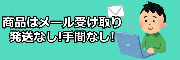 商品はメール受け取り発送なし!手間なし!